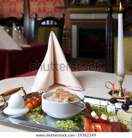 English breakfast on the plate in restaurant - stock photo