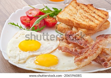 English breakfast - toast, egg, bacon and vegetables - stock photo