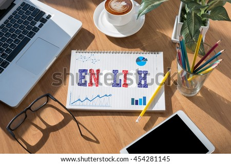 ENGLISH ( British England Language Education ) open book on table and coffee Business - stock photo