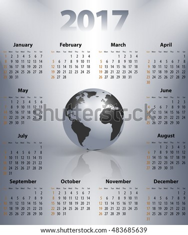 English business calendar for 2017 year with the world globe in a spot lights. Best calendar for print, business and web design use. Poster format calendar. Sundays first.