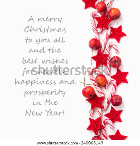 english Christmas card with candy Canes and apples/A Merry Christmas to you all and the best wishes for health, happiness and prosperity in the New Year/english - stock photo