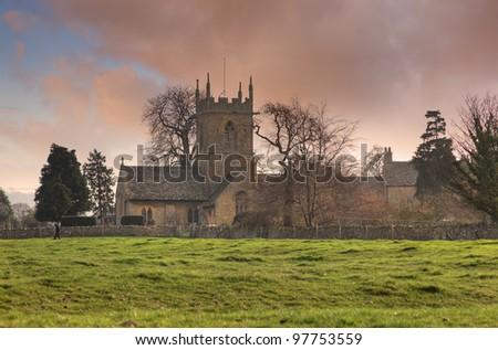 English church at sunset - stock photo