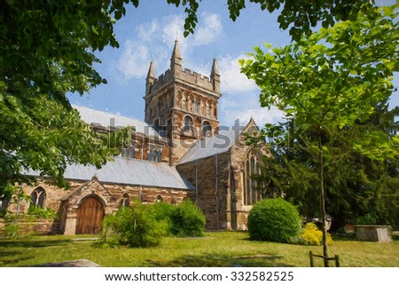 English church of Wimborne Minster Dorset England Uk illustration like oil painting  - stock photo