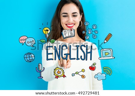 English concept with young woman on blue background