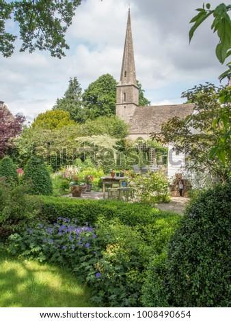 English Country Garden Church Stock Photo (Royalty Free) (Royalty ...