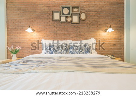 English country style bedroom - stock photo