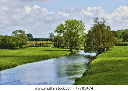 English Countryside River - stock photo
