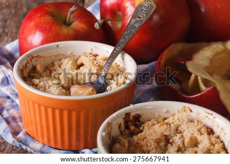 English crumble with apples close-up in the pot. Horizontal rustic style