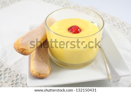 English custard with candied cherry and cookies Savoyardi