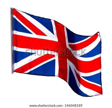 English flag in the wind on a white background - stock photo
