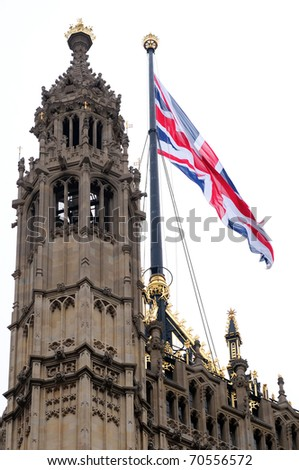 English flag on Parliament - stock photo