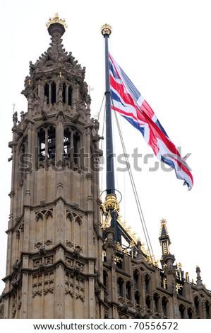 English flag on Parliament - stock photo