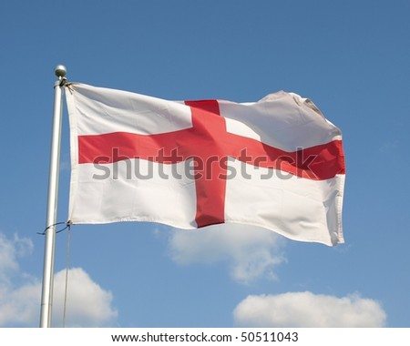 English Flag, the Saint George's Cross, Flying at Full Mast - stock photo
