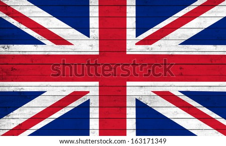 English flag , wood background