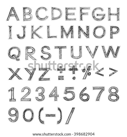 English Font Freehand Alphabet Pencil Sketch Art Character Design And Symbol