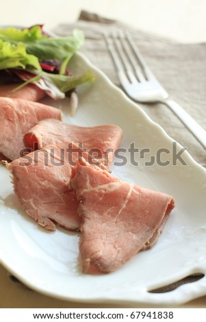 English food, roasted beef in slices