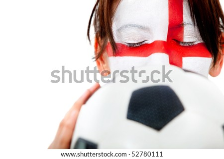 English football fan with the flag painted on her  face - isolated over white - stock photo