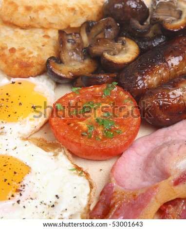 English fried breakfast with hash browns and mushrooms - stock photo