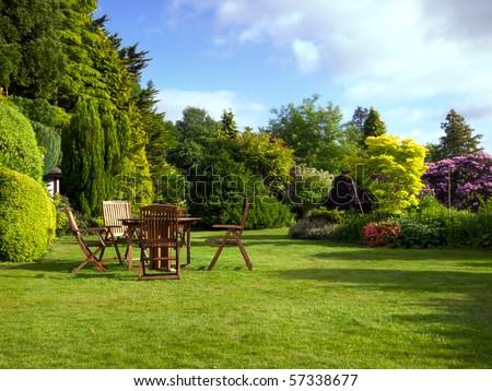 English garden in summer - stock photo