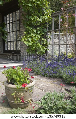 English garden patio with ceramic flower pot.