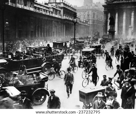 English General Strike Londoners in front of the Bank of England. - stock photo