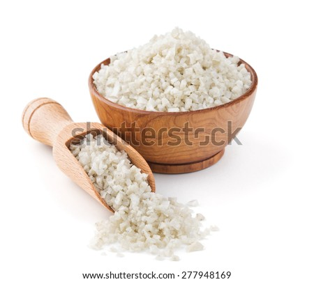 English gray salt in a wooden bowl isolated on white background - stock photo