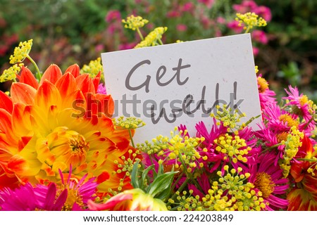 english greeting card with dahlia and asters/get well/english - stock photo
