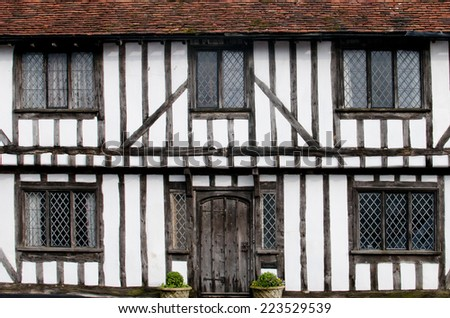 English half-timbered black and white Tudor houses from Lavenham, Suffolk  England