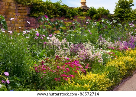 English Herbaceous Garden Border - stock photo