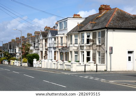 English Homes.Row of Typical English Terraced Houses - stock photo