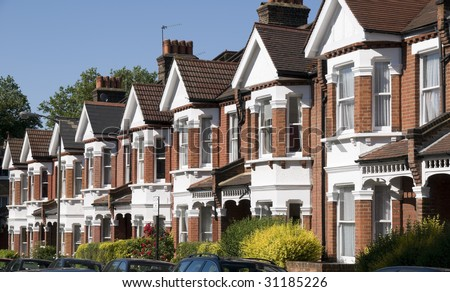 English Homes.Row of Typical English Terraced Houses at London.