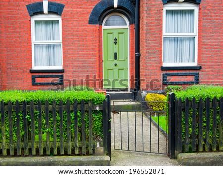 English house front - stock photo