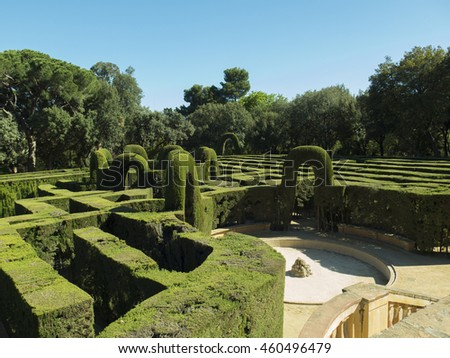 English labyrinth with a blue sky - stock photo