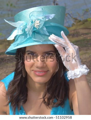 English Lady style - Ascot horse race style concept - stock photo