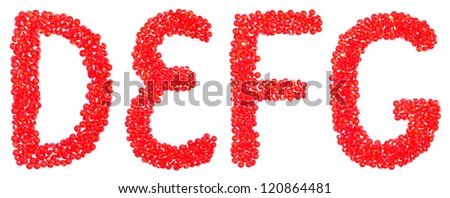 english letters D, E, F, G from beautiful red diamonds on a white with shadow