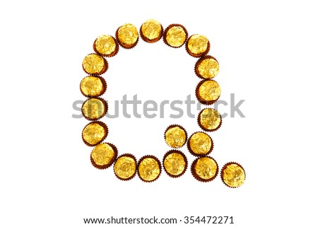 English letters gold sort by chocolate on a white background