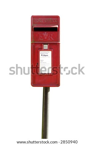 English mail box with space to add your own details on collection plate.Isolated on White with Clipping path