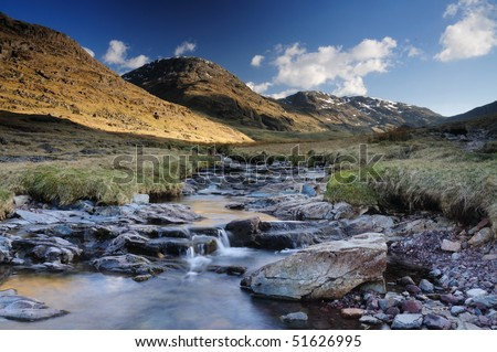 English mountain stream, Lake district - stock photo