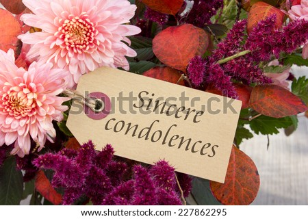 english mourning card with chrysanthemus and autumn leaves/deepest sympathy/mourning card  - stock photo