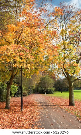 English Park In The Autumn (Fall) - stock photo