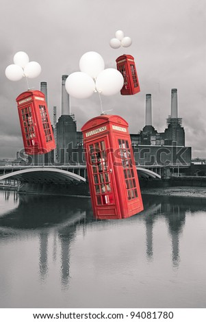 english phone booths flying - stock photo
