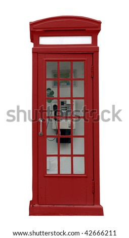 English red kiosk isolated with interior telephone - stock photo