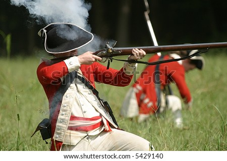 English Redcoat Soldier Firing Weapon