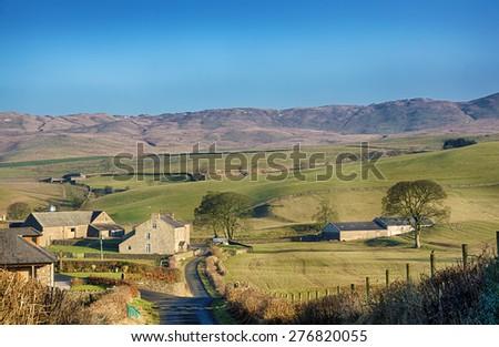 English rural scene near Grayrigg, Cumbria. - stock photo