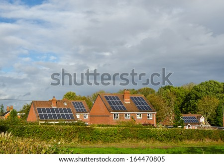 English solar house - stock photo