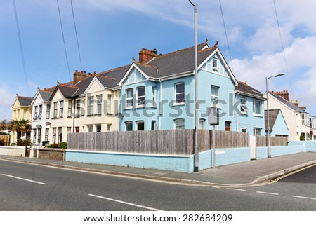 English street of terraced houses - stock photo