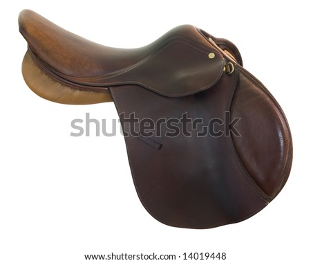 English style, brown leather,  horse saddle isolated on white, clipping path included