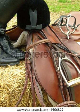 English style riding gear. - stock photo
