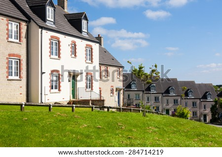 English Terraced Houses - stock photo