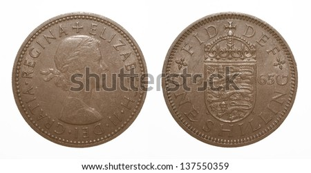 English three lions passant coat of arms 1965 Elizabeth II One Shilling Coin - stock photo